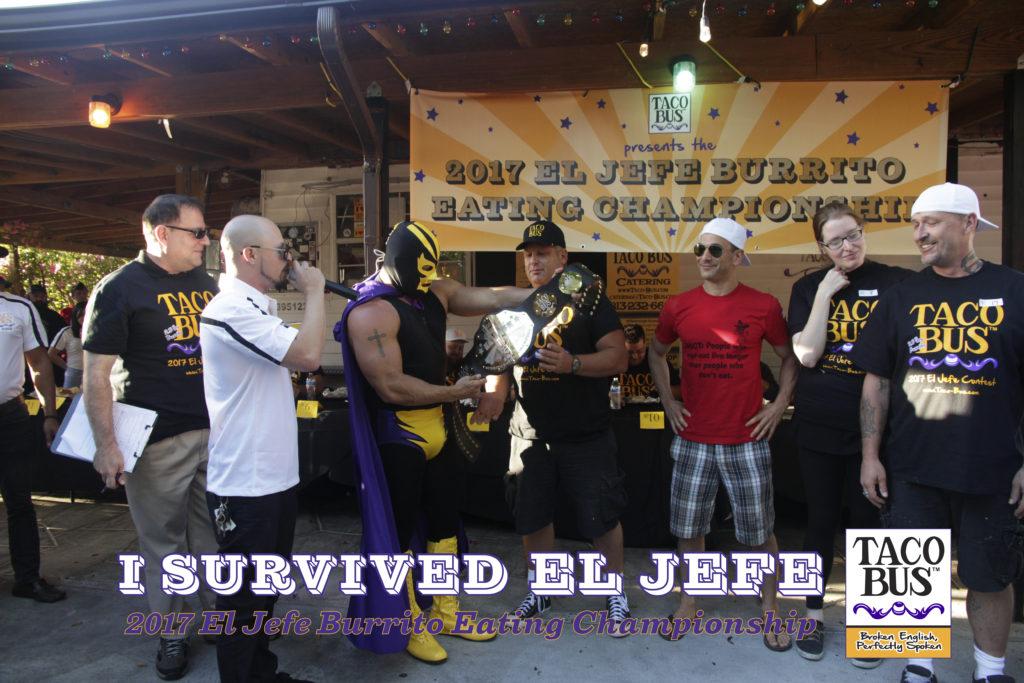 Mike Jenkins, Winner of the 2017 El Jefe Burrito Eating Championship
