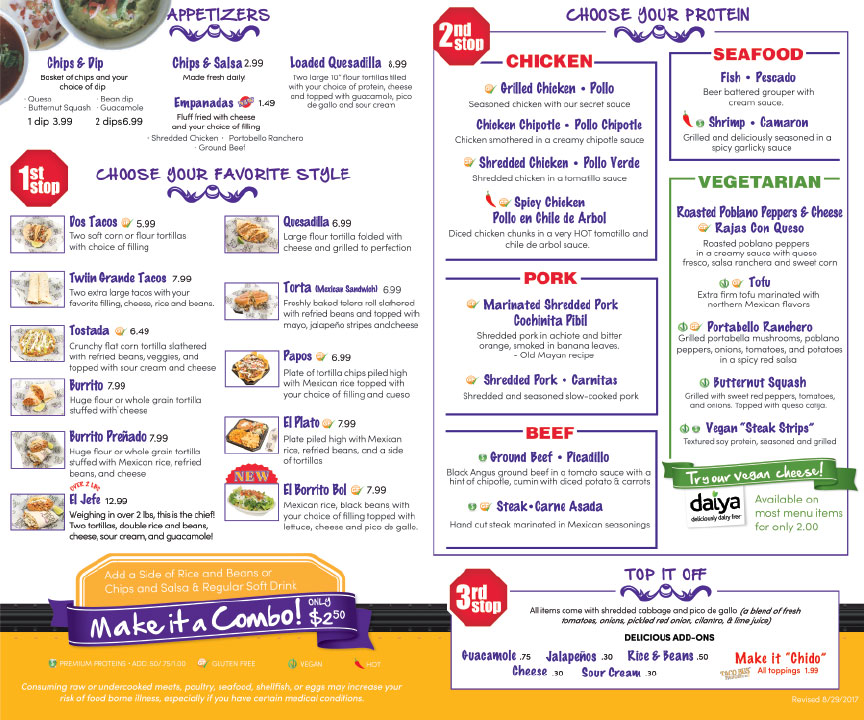 Inside To-go Menu